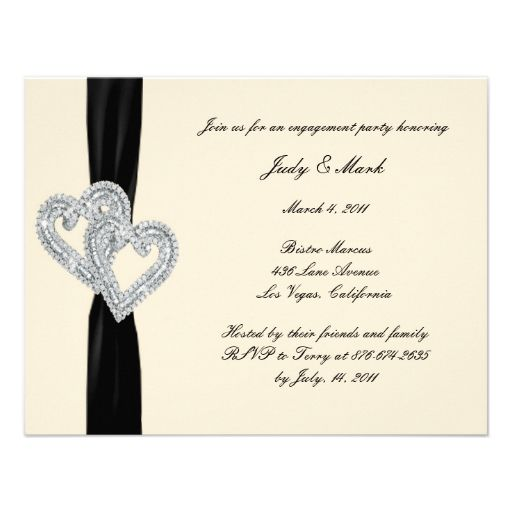Engagement party invitations, Black ribbon and Engagement parties - create engagement invitation card online free