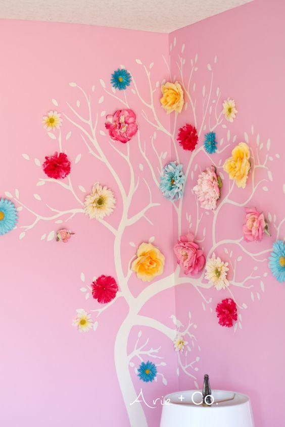 Flower Tree Wall Art; Colorful Little Girl Room; Girls Bedroom Ideas; Benjamin Moore Pink Begonia Walls