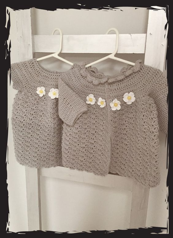Matching Grey Sweater and Dress with White by Calyisdesigns