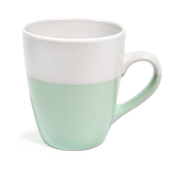 Mug en faïence vert et blanc COSY   - Vendu par 6