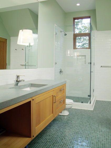contemporary bathroom by Birdseye Design - recycled glass tile floor