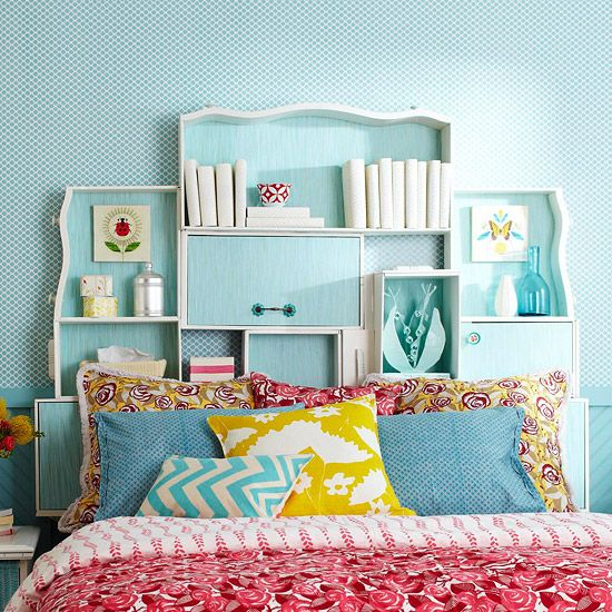 Here, old dresser drawers become a one-of-a-kind headboard.