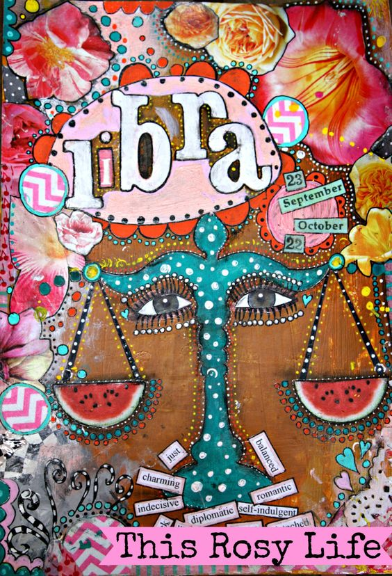 Libra art, Libra wall art, Libra gift, Libra zodiac, collage art. by ThisRosyLife on Etsy