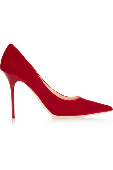 Jimmy Choo's signature 'Abel' pumps are a best-selling style for the brand, loved for the classic stiletto silhouette and elegant pointed toe. Updated in lustrous cherry velvet, this Italian-crafted pair is finished with a patent heel for a tactile contrast. Make them pop against an all-black outfit. Shop it now at NET-A-PORTER.COM.  #JimmyChoo