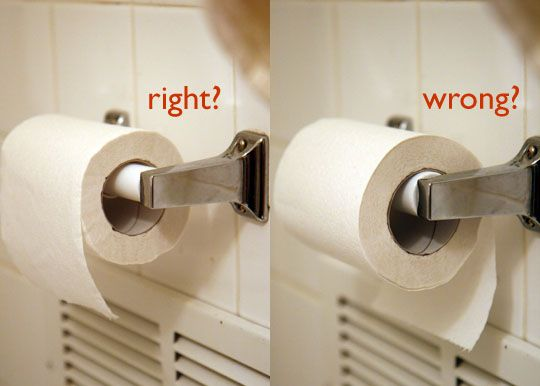 This makes me laugh!  Everyone should go by this!  If i go into your bathroom and your toilet paper is under I WILL change it!