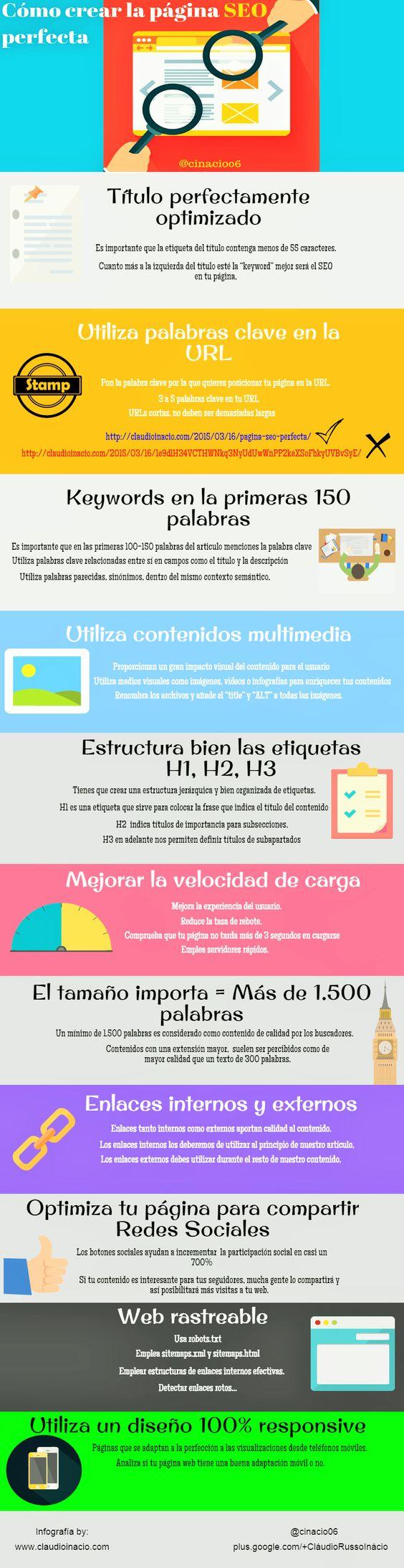 Cómo crear la web SEO perfecta #infografia #infographic #seo