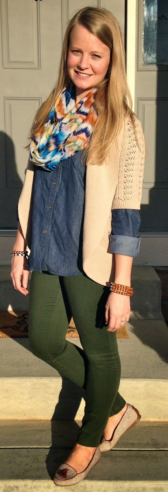 Sweet Bananie - chambray, green pants, ikat infinity scarf & loafers, easy peezy early morning outfit