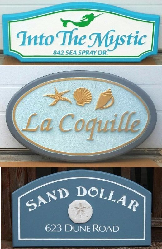 Coastal Beach Cottage Style House Name Plaque Sign Ideas House