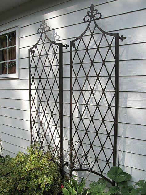 Trellis iron trellis and garage on pinterest for Window trellis design
