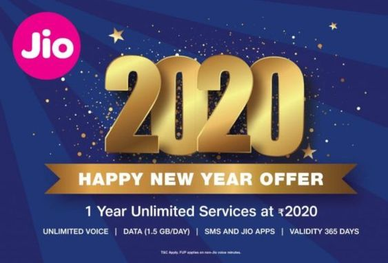 Jio 2020 Happy New Year Offer Get 1 Year Plan With 1 5gb Day Data Or Jiophone With 500mb Day Data At Rs 2020 New Year Offers New Year Planning Year Plan