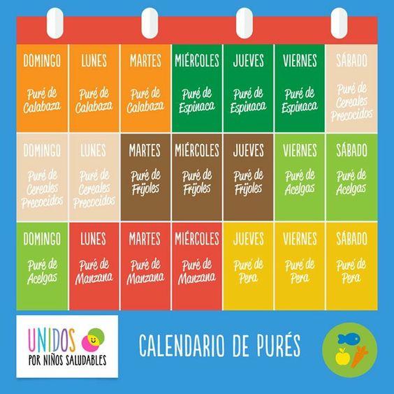 Calendario de pures 6 meses papillas pinterest - Pures bebes 6 meses ...