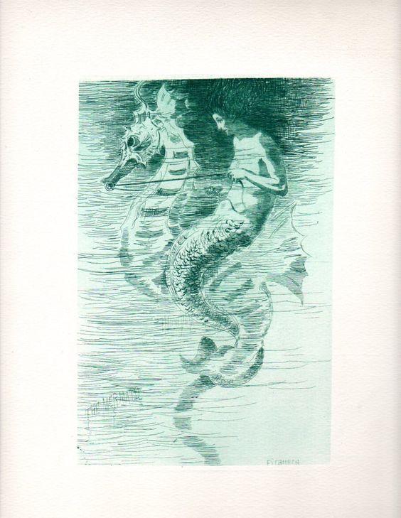 rare mermaid etching from ebay