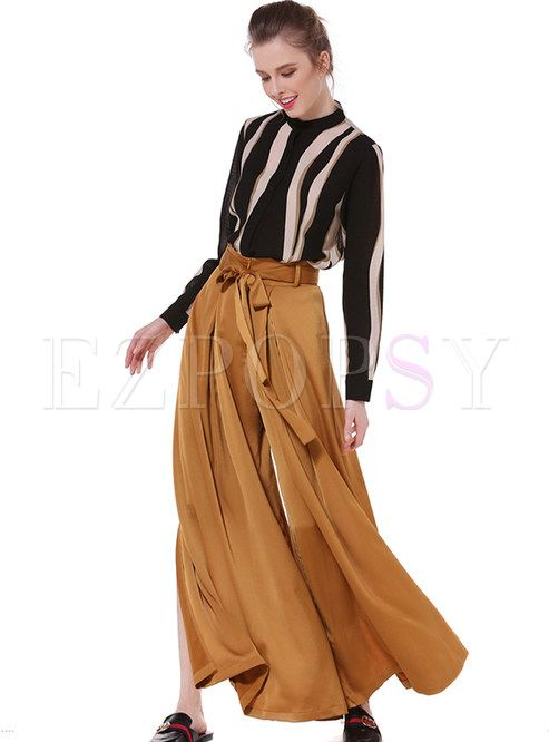 Brief Fashionable Slit High Waist Loose Wide Leg Pants