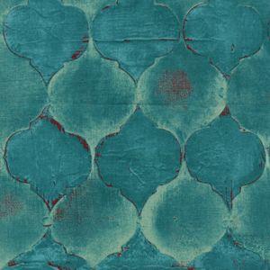 Laura Gunn, Tile Mosaic in Turquoise, Lantern Bloom Fabric, 1 Yard