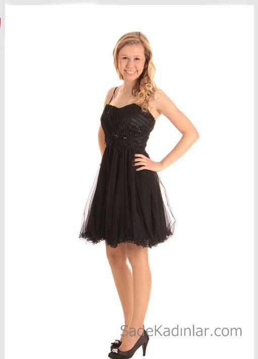 14 Yas Abiye Elbise Siyah Kisa Ip Askili Kalp Yaka Klos Tul Etekli Elbise Kokteyl Elbisesi The Dress