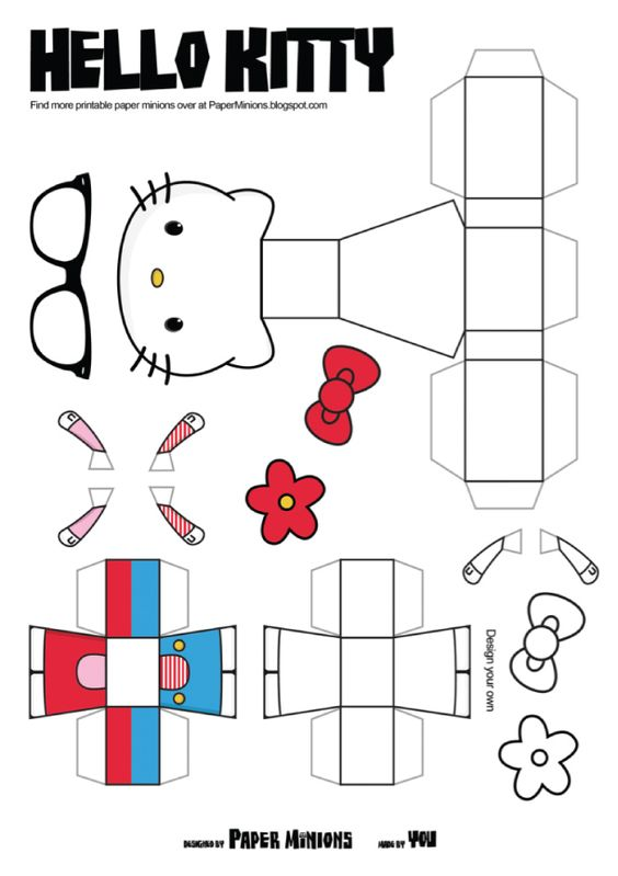 Hello kitty de paper minions crafting toys and paper art for Hello kitty cut out template