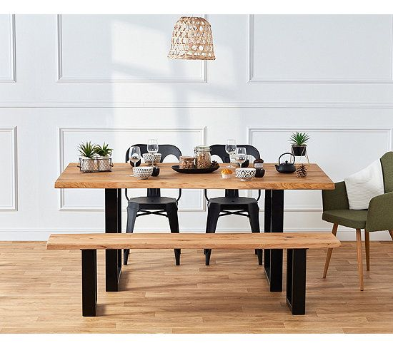 Table Rectangulaire Emma Chene Massif Table But Table A Manger Pas Cher Decoration Maison Table En Chene