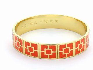Trina Turk Enamel Brick Gold And Orange Bangle Bracelet $98