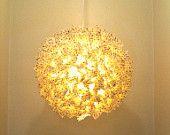 24 Inch gold stars on yellow hanging Fuzzy Lamp / Lantern