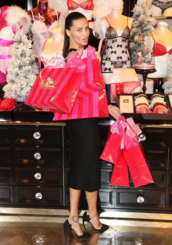 Adriana Lima wearing a Lover outfit as she celebrates Victoria's Secret UK store opening on New Bond Street in London on December 12, 2013