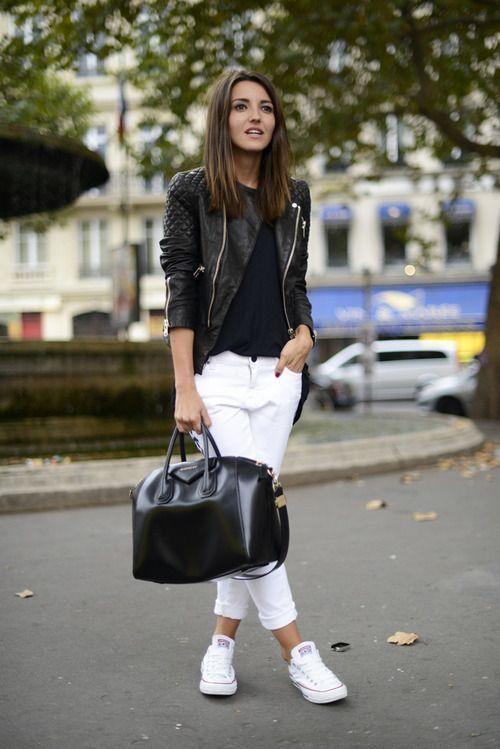 Moto jacket, white jeans, black t shirt, handbag, Converse