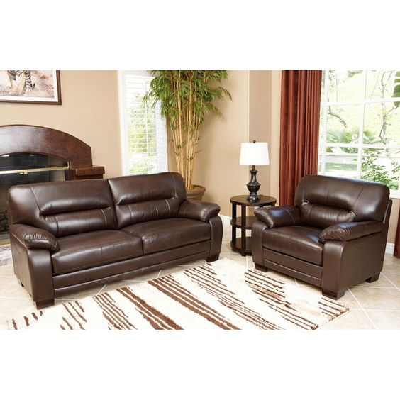 Abbyson Living Wilshire Premium Top-grain Leather Sofa and Chair Set - Overstock™ Shopping - Big Discounts on Abbyson Living Living Room Sets