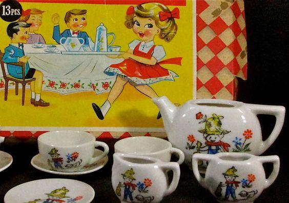 Vintage 1950s Toy Tea Set in Original Box by Little Miss Jaymar Made in Japan. $12.50, via Etsy.