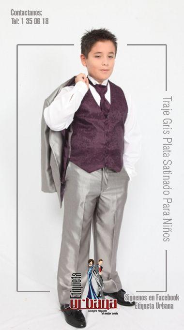 Traje Gris Plata Satinado Para Niños. Combinado ahora con chaleco y corbatín en color morado