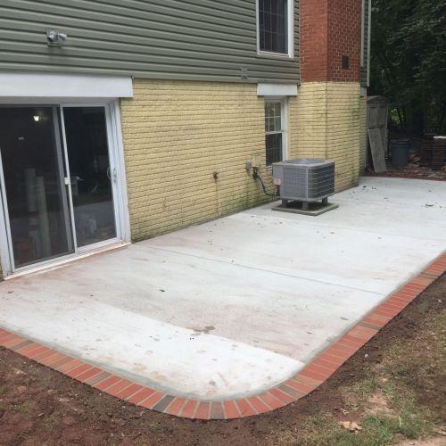Concrete Patio With Brick Borders In Herndon Virginia Concrete