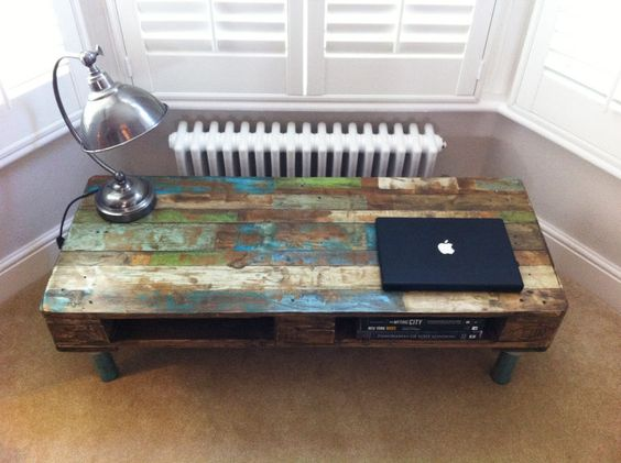 reclaimed furniture collection | Pallet Coffee Table with reclaimed Steel legs - Vintage Industrial ...