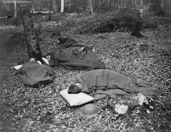 British soldiers sleeping in Crecy Forest, 1918.