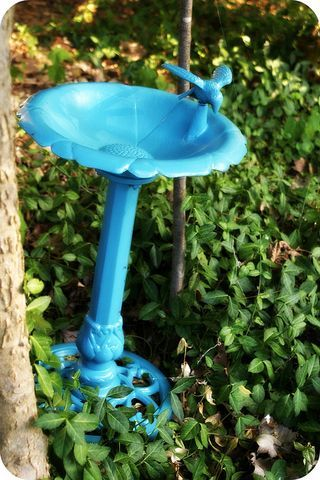 Spray painted birdbath: