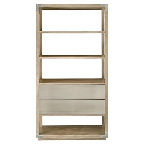 Nora Modern Classic Brown Wood Two Drawer Etagere Bookcase