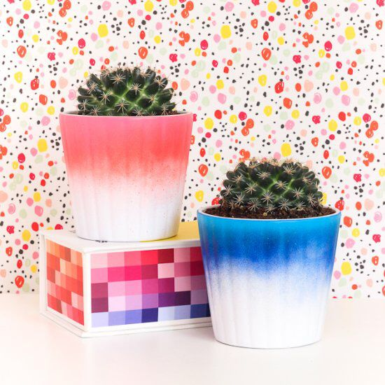 Learn how to make these fun ombre planters in 5 minutes!