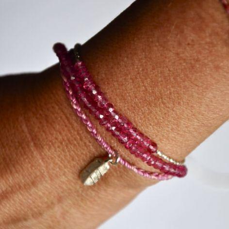 Pink gemstone & friendship bracelet set