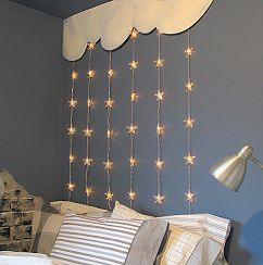 A headboard can be as simple as some wooden painted clouds and hanging stars.     Visit post at: http://www.funkyjunkinteriors.net/2009/12/young-boys-retreat-bedroom-reveal.html
