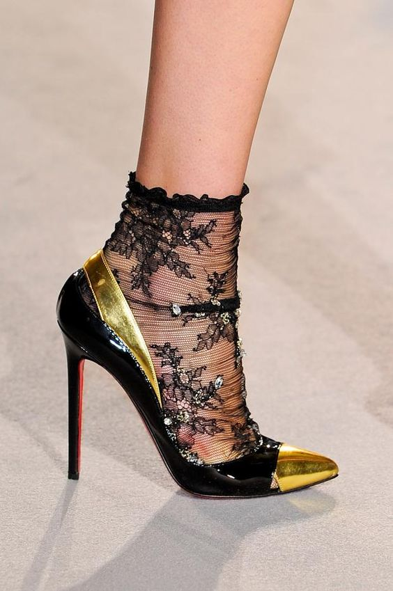 I just bought those shoes in nude!!   Collette Dinnigan Autumn (Fall) / Winter 2012 / Christian Louboutin heels