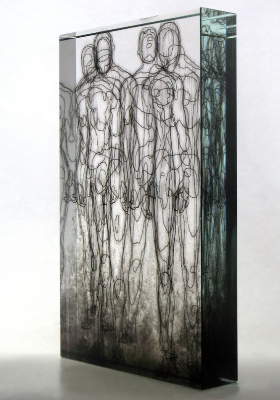 Michal Macků, Glass Gellage amazing sculpture in glass and other mediums wonderful simple yet absorbing forms look like pencil drawings of anatomy running through the glass in this clever sculpture