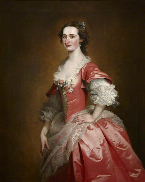 """Portrait of an Unknown Lady, Called 'Mrs Somerville'"", attr. Jeremiah Davison, ca. 1740; NT 1219973:"