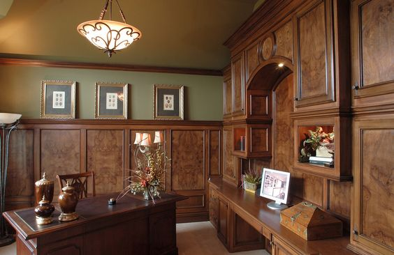 Home office with custom wood detail #design #style #WalkerHomes