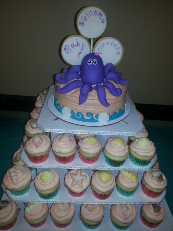Under the sea cake/cupcakes... Great job Tara LOVED IT!!