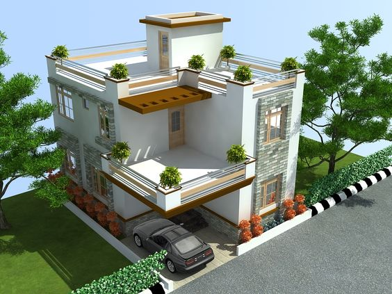 front elevation designs for duplex houses in india Google Search