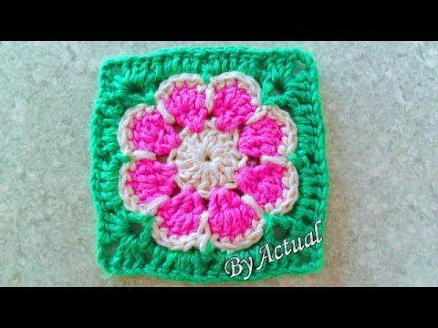 Flor De Croche Aprimorada Byactual Youtube Crochet Crochet Square Patterns Square Patterns