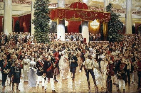 Ball at the Assembly Hall of the Nobility in St Petersburg on 23 February 1913 by Kardovskii Dmitrii: