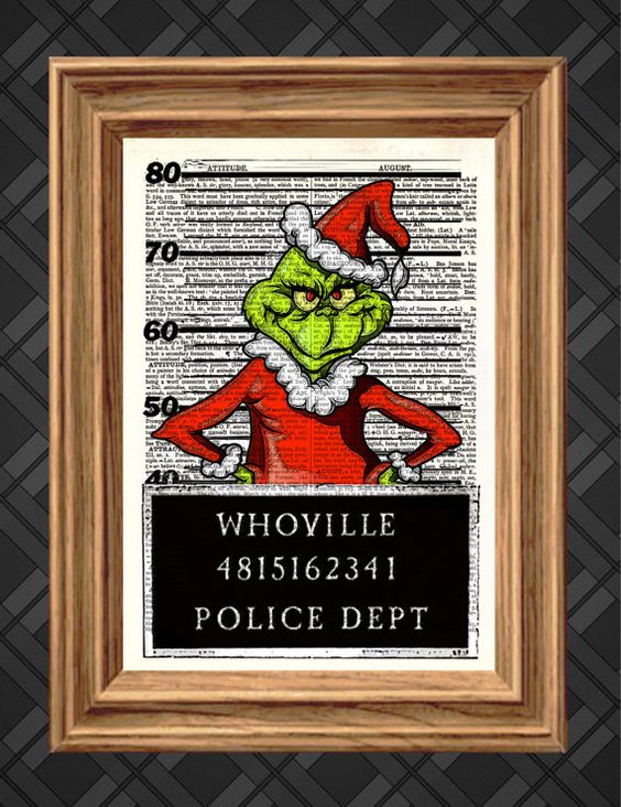 Dictionary Art Print - The Grinch Mugshot, Christmas Print - Up-cycled Antique Book Art Page, Wall Decor, Wall Art , Mixed Media Collage
