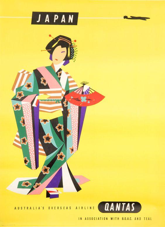 A Qantas to Japan Tourism Poster | Webb's – New Zealand's Premier Auction House: Fine, Tribal & Decorative Arts, Jewellery, Books, Wine, Cars & Bikes, Valuations