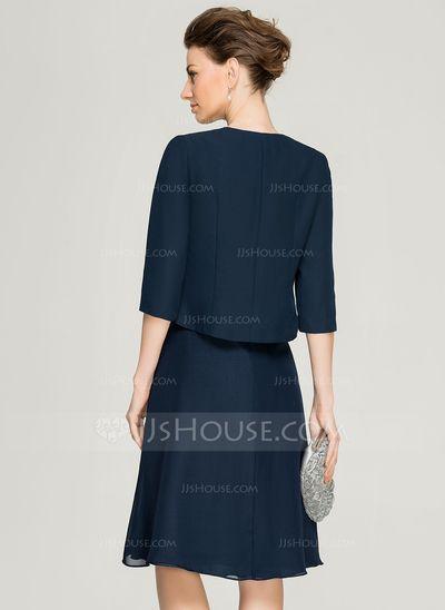 Corte A/Princesa Escote en V Hasta la rodilla Chifón Encaje Vestido de madrina con Cascada de volantes (008062577)