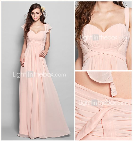 Vestido de Dama de Honor - Rosa Perla Corte Recto Escote Corazón - Hasta el Suelo Gasa 2015 – $1,495.81