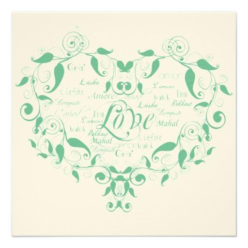 Love in Any Language Mint Green Wedding Invitation