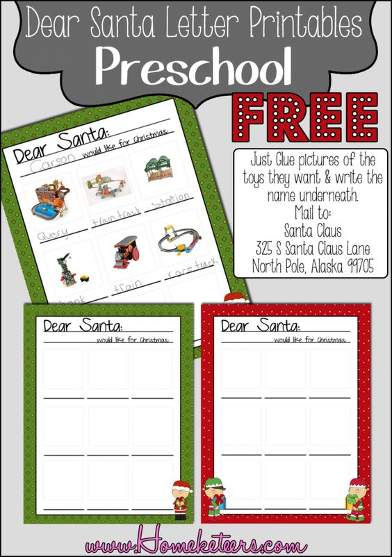 Dear Santa Preschool Letter Free Printable | Printable and ...